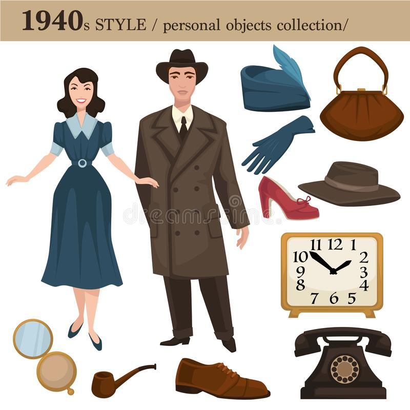 1940 fashion style man and woman personal objects. 1940 fashion style of man and woman clothes garments and personal objects collection. Vector retro dress or royalty free illustration