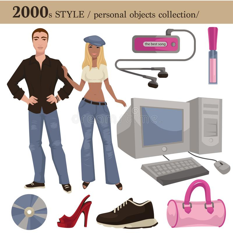 2000 fashion style man and woman personal objects. 2000 fashion style of man and woman clothes garments and personal objects collection. Vector dress or suit vector illustration