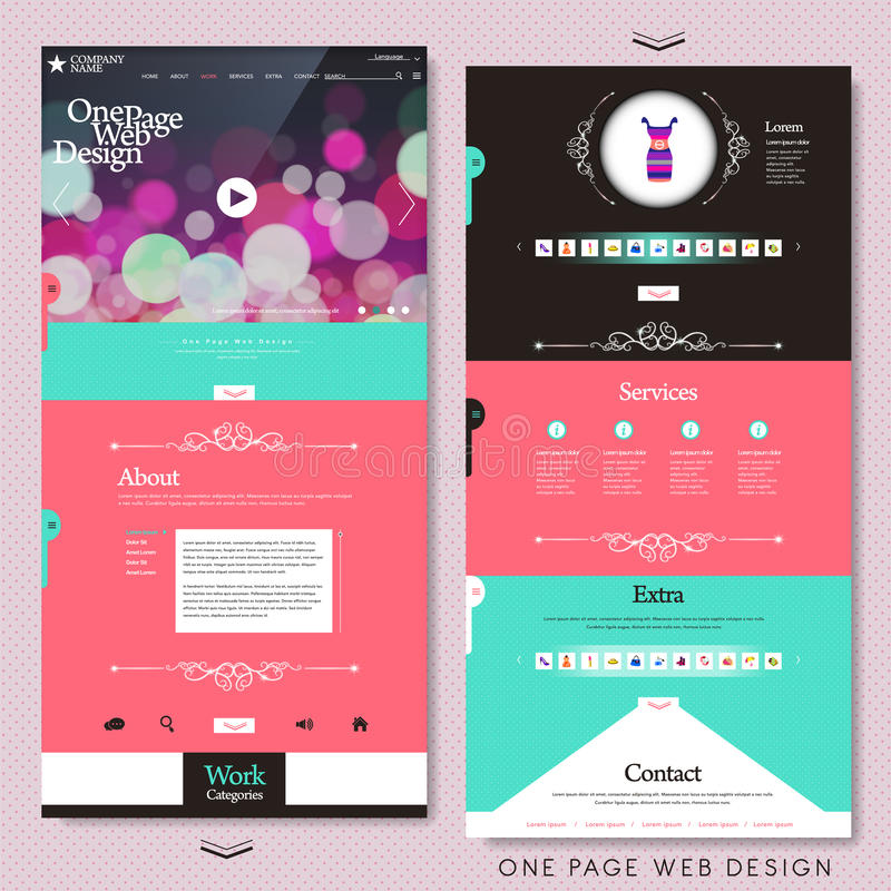 Fashion style one page website design template royalty free illustration