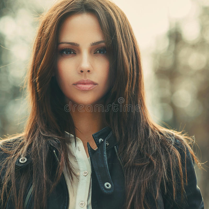 Fashion style portrait of pretty beautiful girl face.  stock photography