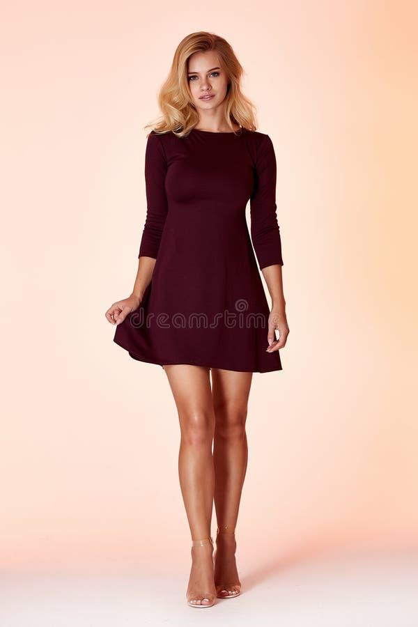 Fashion style woman perfect body shape blond hair wear dress code elegance casual beautiful model secretary air hostess diplomatic. Protocol office uniform stock images