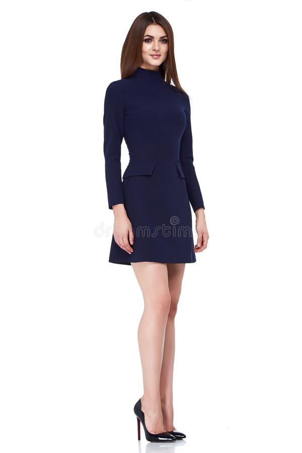 Fashion style woman perfect body shape brunette hair wear black dress suit elegance casual beautiful model secretary air hostess d royalty free stock photography
