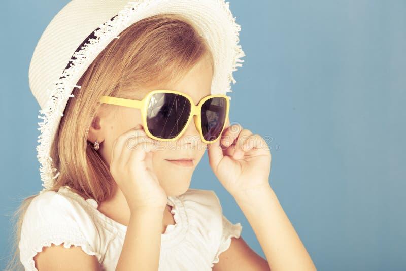 Fashion summer girl wearing a hat stock photo