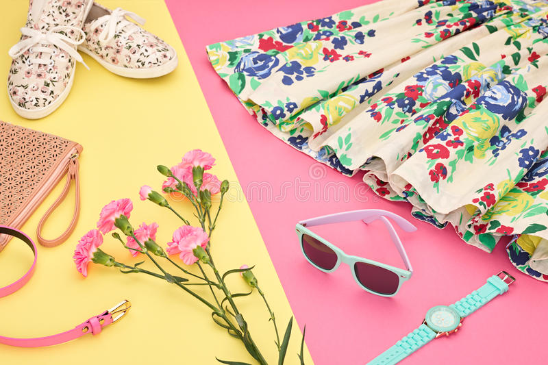 Fashion Summer Hipster Outfit, Accessories. Urban royalty free stock photos