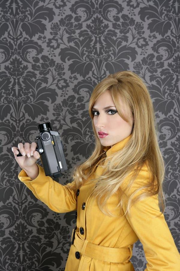 Free Fashion Super 8mm Camera Reporter Woman Vintage Royalty Free Stock Photo - 18501375