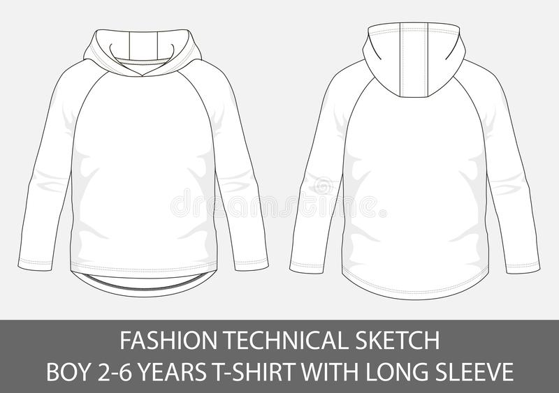 Fashion technical sketch for boy 2-6 years hoody t-shirt with long sleeve. In vector graphic stock illustration