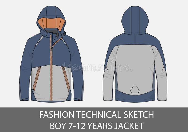 Fashion technical sketch for boy 7-12 years jacket with hood. In vector graphic stock illustration