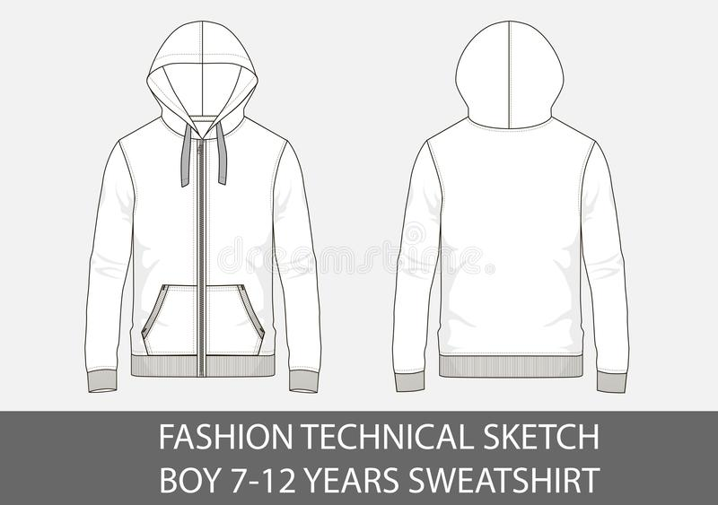 Fashion technical sketch for boy 7-12 years sweatshirt with hood. In vector graphic royalty free illustration
