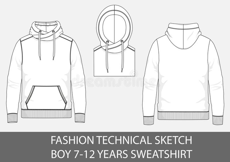 Fashion technical sketch boy 7-12 years sweatshirt with hood. In vector graphic royalty free illustration