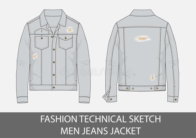 Fashion technical sketch men jeans jacket. Light blue color in vector stock illustration