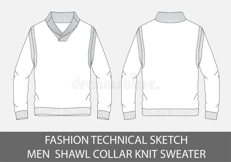 Fashion Technical Sketch Men Shawl Collar Knit Sweater Stock Vector