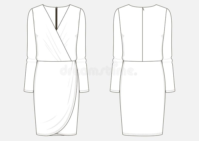 Fashion technical sketch of dress. Fashion technical sketch of women middle dress with sleeves in vector stock illustration