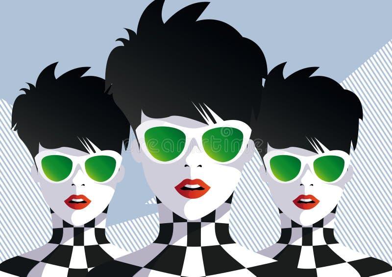 Fashion teenage girls. stock illustration