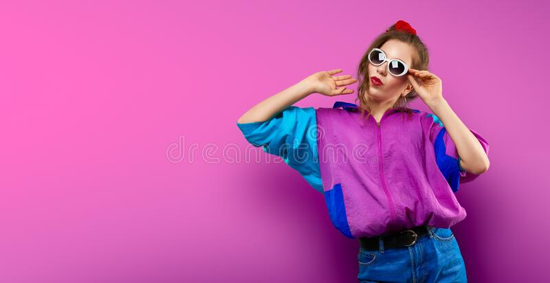Fashion Teenager Girl in vintage sunglasses 80s 90s style party. Vector illustration. Illustrative editorial use only. Cool teenager. Fashionable DJ girl in royalty free stock image
