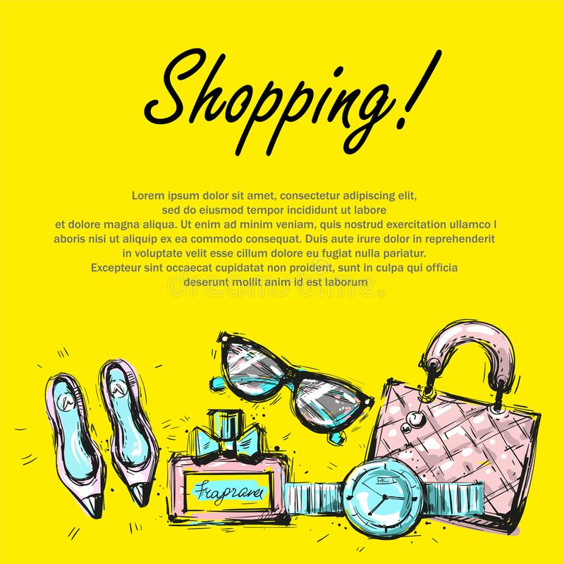 Fashion template banner , bright design accessorize on yellow with text vector illustration