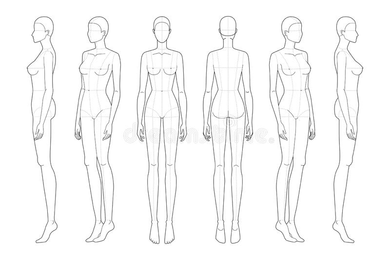Fashion template 9 head for technical drawing with main lines. Woman`s figure front, back, 3-4 and side view. Vector outline girl model template for fashion royalty free illustration
