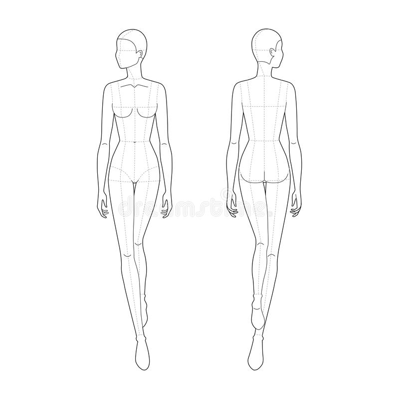 Fashion Template Of Walking Women Stock Vector Illustration Of Design Mannequin 173525058