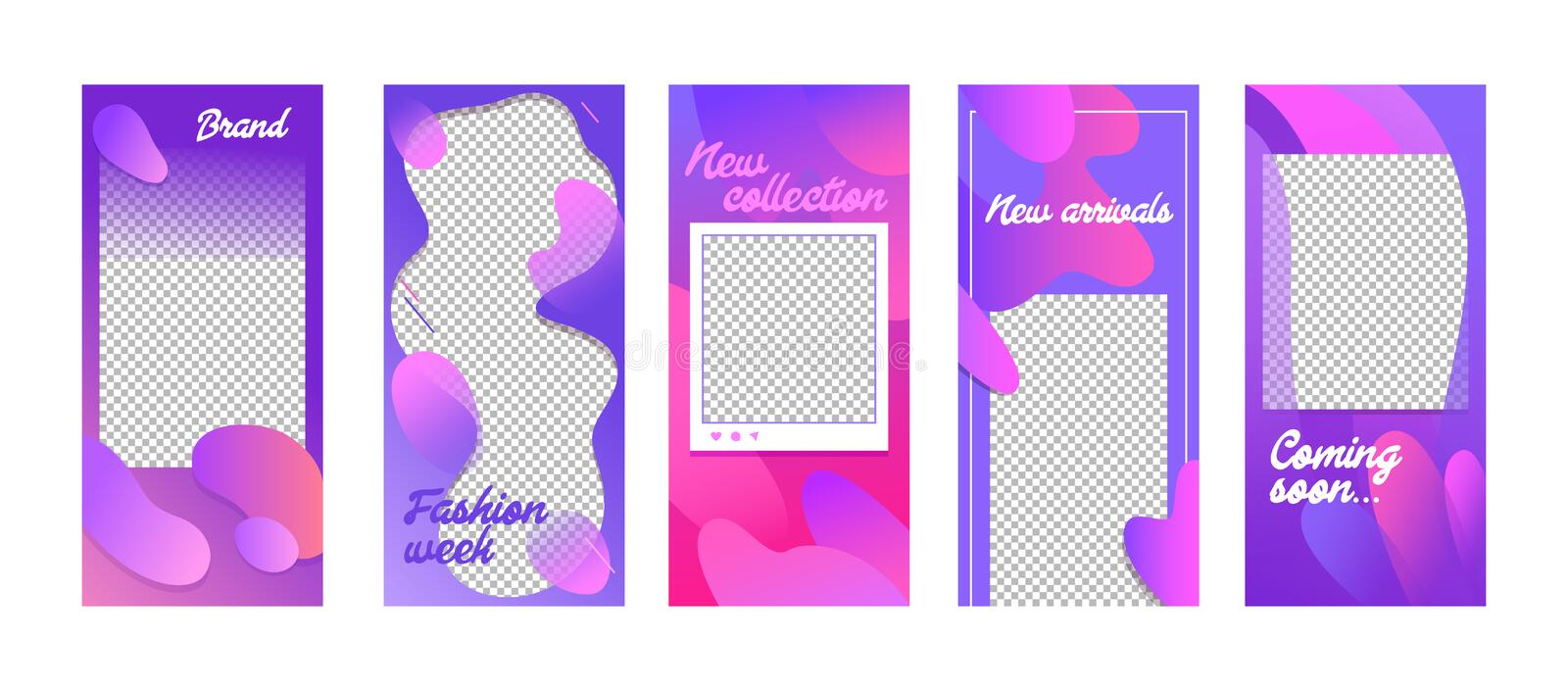 Fashion Templates Set in Fluid Style. Modern Unique Backgrounds Design for Social Media Stories Banners and Digital Marketing vector illustration