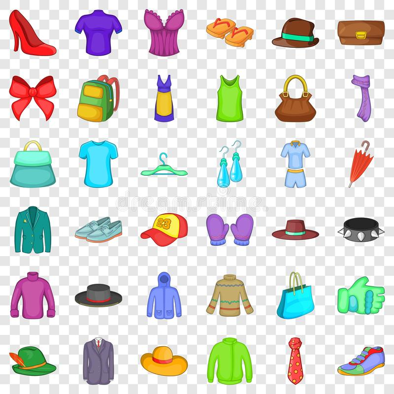 Fashion thing icons set, cartoon style. Fashion thing icons set. Cartoon style of 36 fashion thingt vector icons for web for any design royalty free illustration
