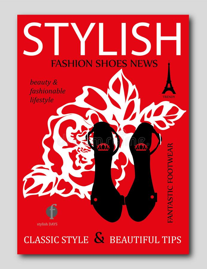 Fashion trendy silhouette black high heel shoes with rose on background. Fashion magazine cover design vector illustration