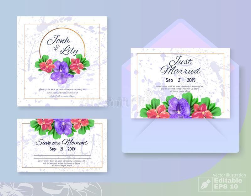 Fashion Trendy Wedding Flowers Set for Marriage. Anemones Blossom Buds Composition and Invitation, Greeting, Advertising Text in Gold Frame. Blots on Backdrop royalty free illustration