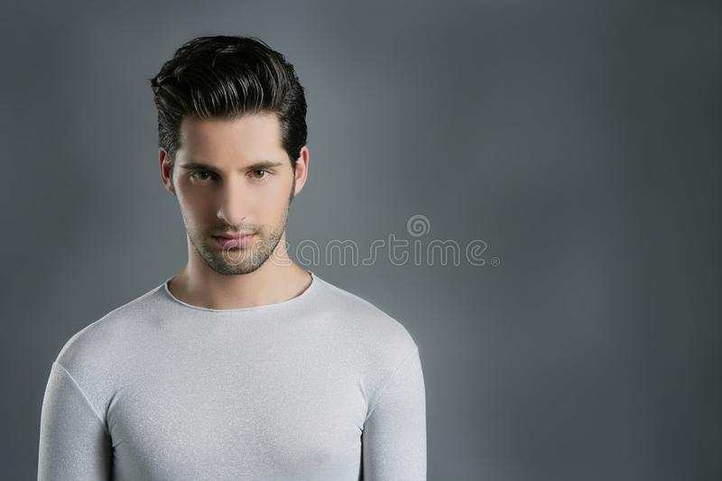 Fashion trendy youn man silver futuristic portrait royalty free stock photos