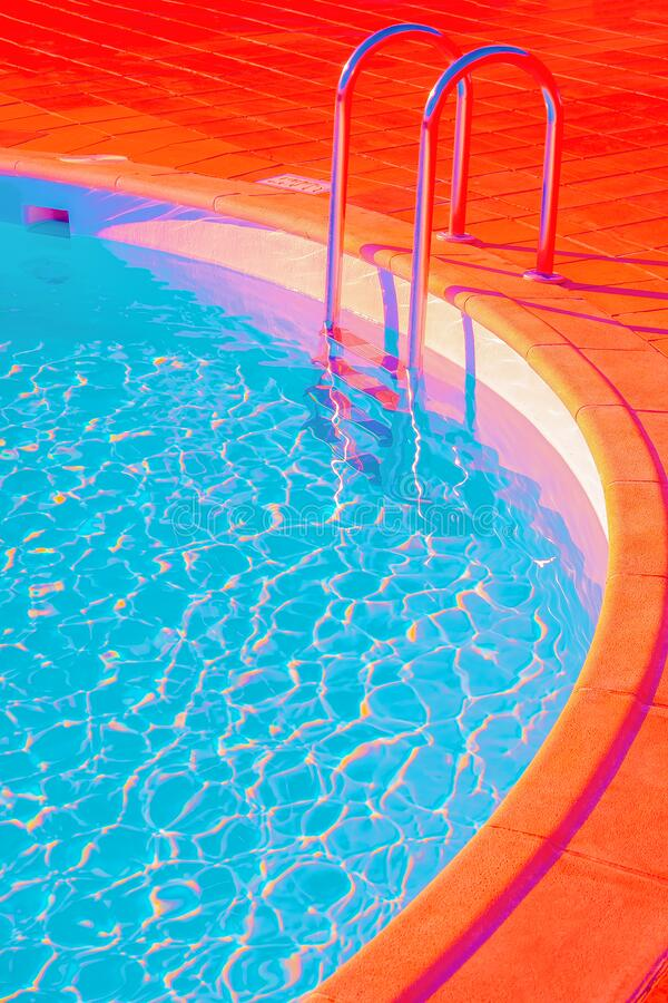 Free Fashion Tropical Minimal Location.  Swimming Pool Space. Vapor Wave Colours Style Wallpaper.  Travel Aesthetics Stock Image - 213917061