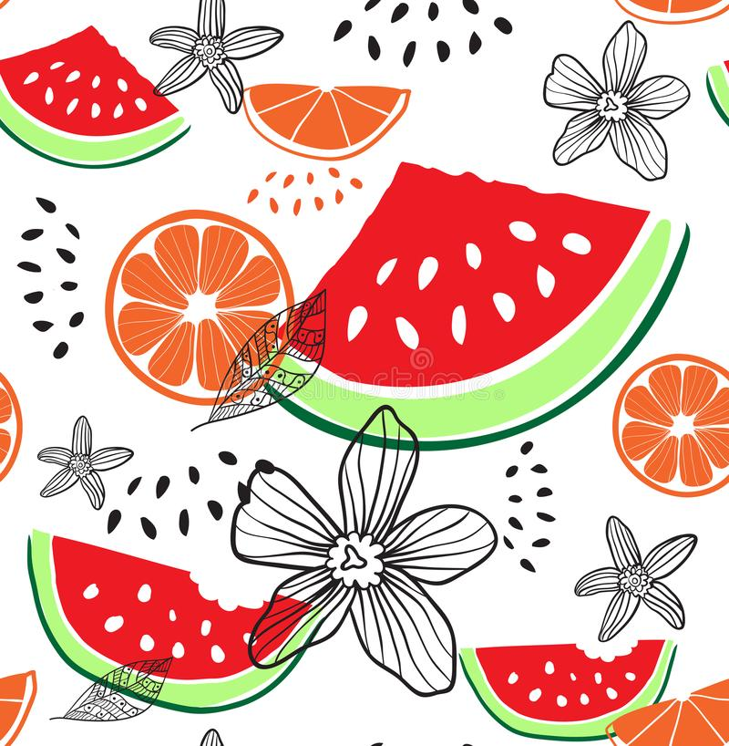 Fashion tropics funny wallpapers. Seamless pattern with watermelon, oranges and flowers on white background. Fruit mix stock illustration