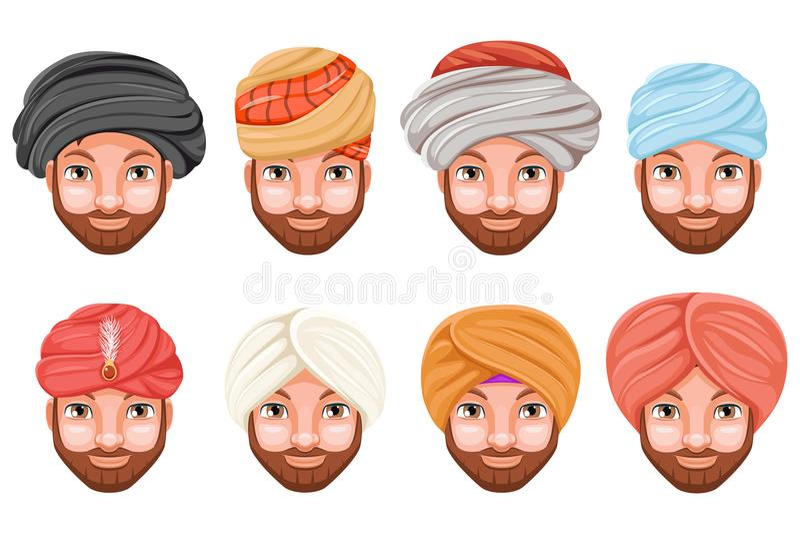 Fashion turban headdress arab indian culture sikh sultan bedouin cute beautiful man head hat isolated icons set cartoon. Fashion turban headdress indian arab vector illustration