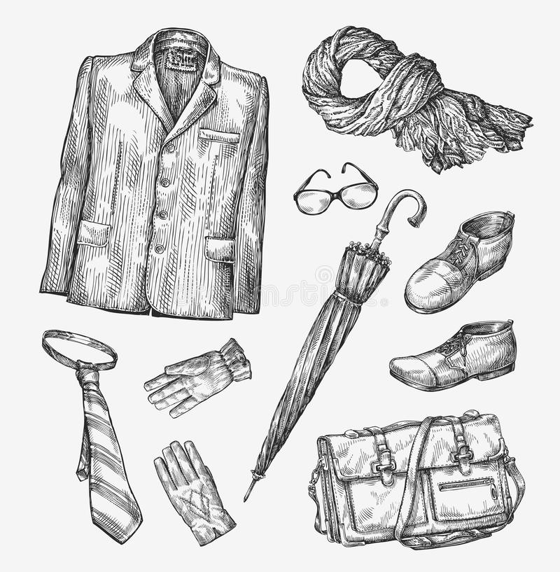 Fashion. Vector collection of men clothing. Hand-drawn sketch umbrella, tie, shoes, glasses, gloves, bag, scarf, jacket vector illustration