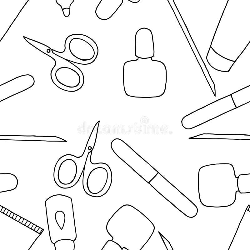 Fashion Vector Coloring Book Beauty Nail Art Stock Vector
