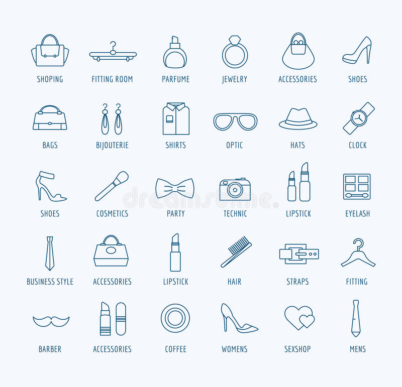 Fashion Vector Logo Icons Set Style Dress Or Stock Vector