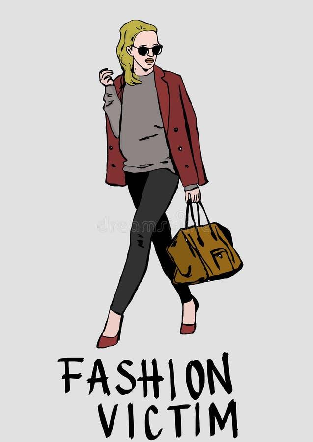 Fashion victim. Image of fashion victim woman royalty free illustration