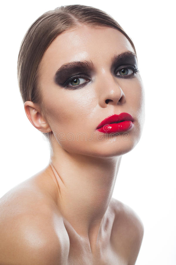 Fashion vogue portrait of a beautiful woman with beauty face royalty free stock photo
