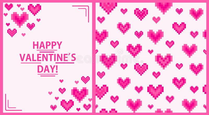 Fashion wallpaper and greeting card with geometric pulsing pink hearts print for Valentine's day. Fashion wallpaper and greeting vertical card with vector illustration