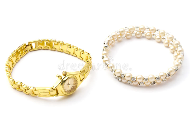 Fashion watch and bracelet royalty free stock images