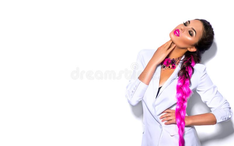 Fashion wear look style, Beauty sexy model girl in trendy white blazer bright make-up, braided purple hair, isolated on white royalty free stock images