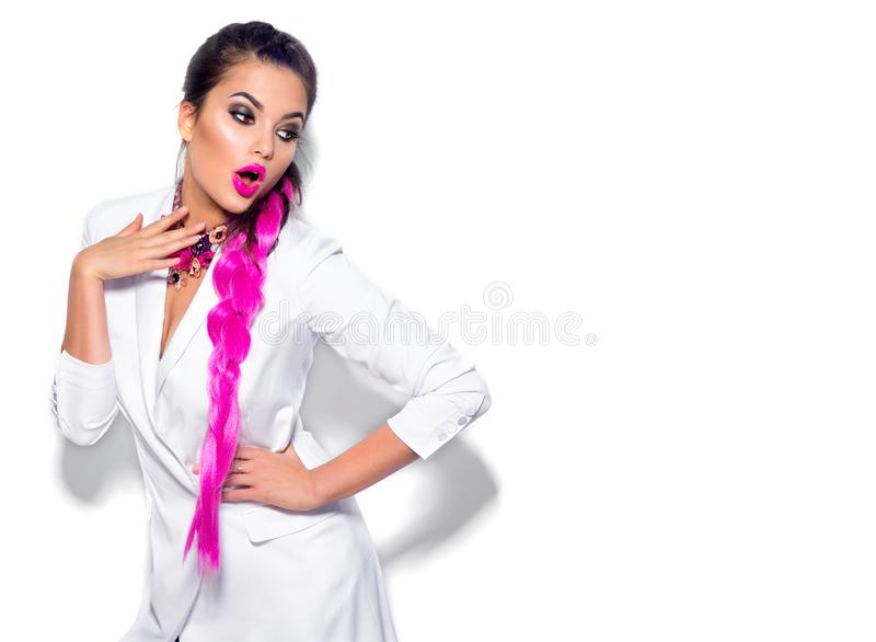 Fashion wear look style, Beauty sexy model girl in trendy white blazer bright make-up, braided purple hair, isolated on white. Background. Beautiful young stock photography