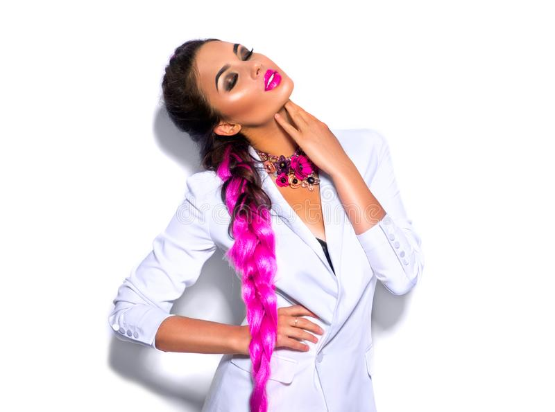 Fashion wear look style, Beauty sexy model girl in trendy white blazer bright make-up, braided purple hair, isolated on white royalty free stock image