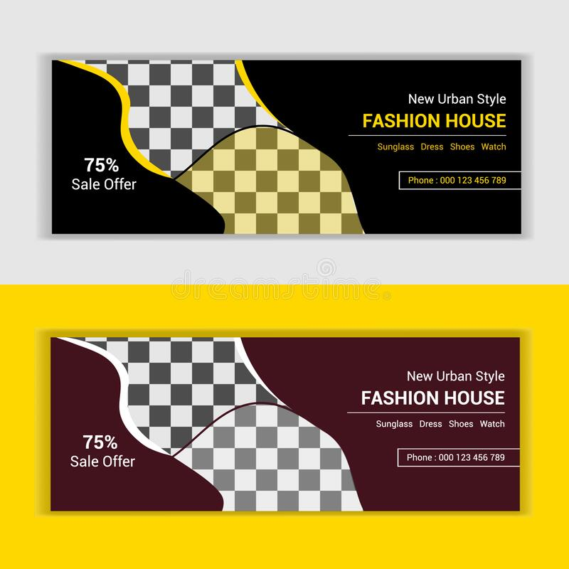 Fashion web banner for sale offer and exclusive discount announcement template vector stock photos
