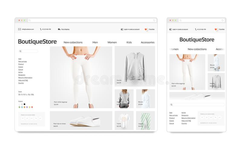 Fashion web store template mock up set isolated. Fashion web store adaptivity template mock up set isolated, 3d rendering. Clothing web page interface mockup royalty free illustration