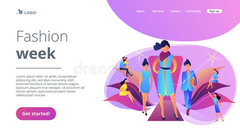Fashion week concept landing page. Designers display latest collection in runway fashion show to buyers and media. Fashion week, fashion industry event, runway stock illustration