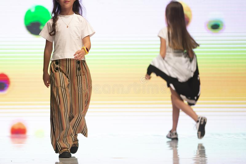 Fashion week models runway kids royalty free stock photography