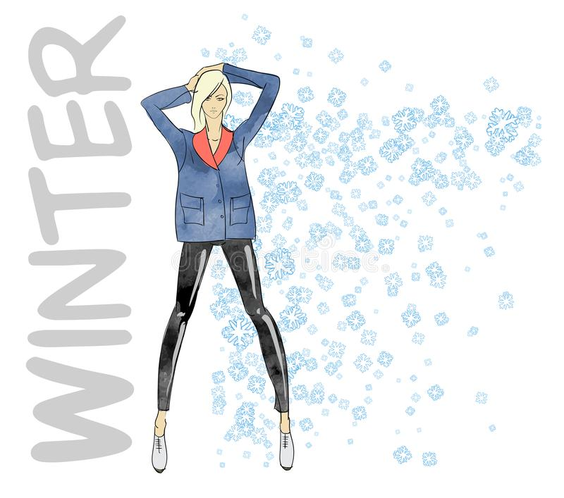 Fashion winter girl. Fashion illustration winter style sketch. Hand drawn. Girl with snowflakes. Fashion winter girl. Fashion vector illustration winter style vector illustration
