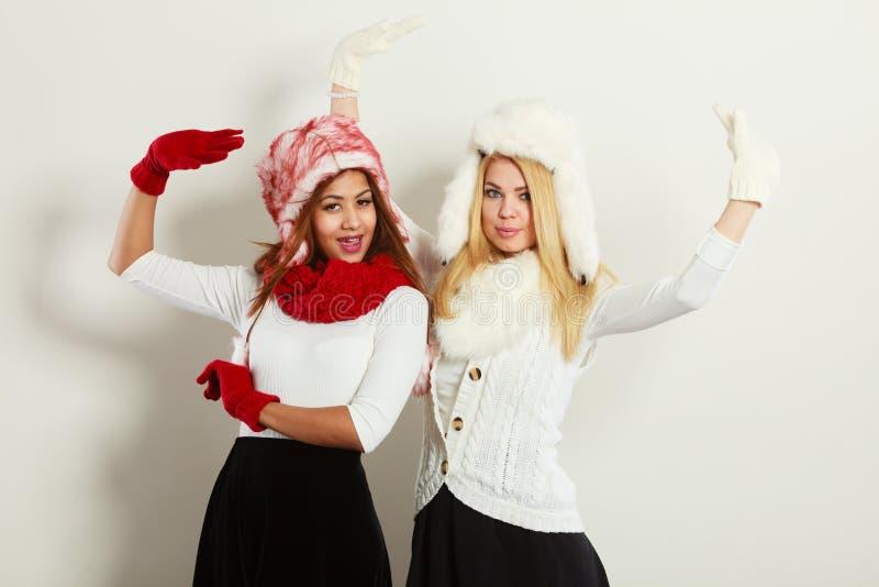 Two girls warm winter clothing having fun royalty free stock image