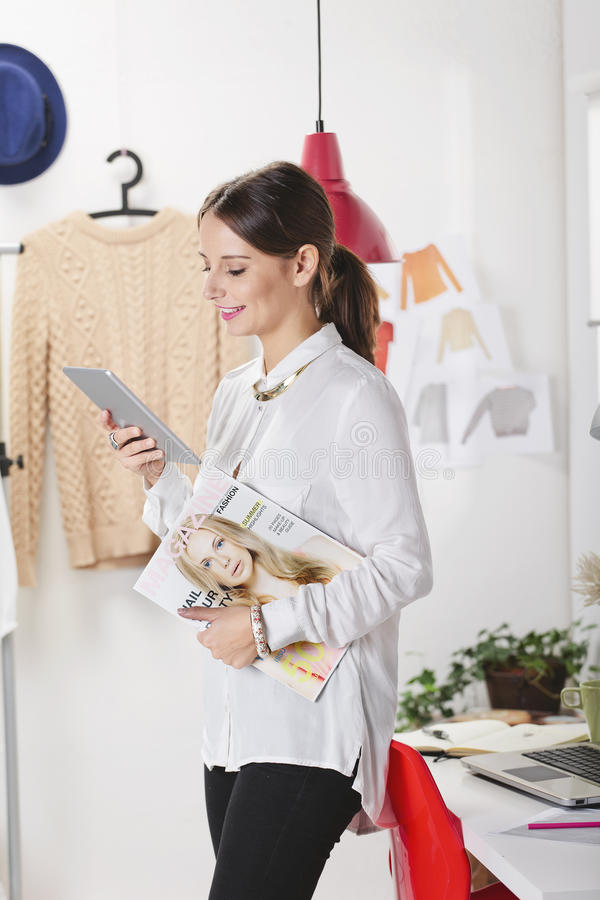 Fashion Woman Blogger Working In A Creative Workspace With Digit Royalty Free Stock Image