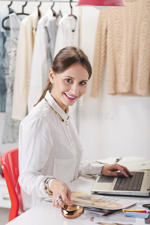 Download Fashion Woman Blogger Working In A Creative Workspace. Stock Image - Image: 34467601