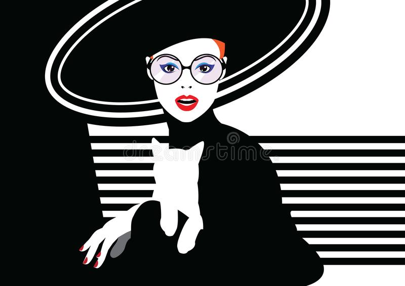 Fashion woman in style pop art. Fashion woman with a cat in style pop art. Vector illustration royalty free illustration