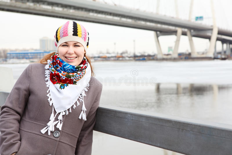 Fashion Woman On City Embankment Stock Image