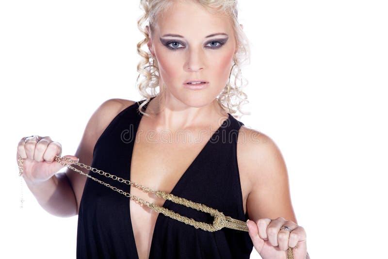 Fashion woman close up with jewelry. Fashion female close up with jewelry royalty free stock image